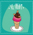 ice cream with cookies is on the lacy napkin vector image