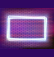 neon frame banner on a brick wall vector image vector image