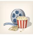 popcorn box film strip and tickets cinema poster vector image vector image