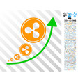 ripple inflation trend flat icon with bonus vector image vector image