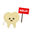 sad unhealthy sick tooth with nameplate vector image