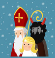 saint nicholas with angel devil and falling snow vector image