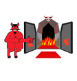 Satan invites sinners to hell Devil indicates hand vector image vector image