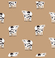 seamless pattern with cow and calf coated in black vector image vector image