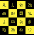 set of 16 editable cleaning icons line style vector image