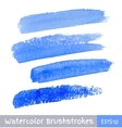 Set of Blue Watercolor Brush Strokes vector image vector image