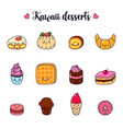set of cartoon doodle icons dessert cake vector image vector image
