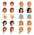 set of different girl s hair styles and colors vector image vector image