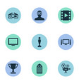 set of simple cinema icons vector image vector image
