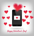 smartphone with love message vector image vector image