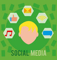 social media user with symbols vector image vector image