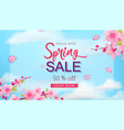 spring sale banner with flowers blue sky hand vector image vector image