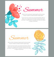 summer set colorful posters vector image vector image