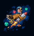 thanksgiving holiday turkey riding a space rocket vector image