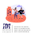 traveling people in trip poster banner brochure vector image vector image