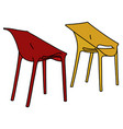 two color plastic simple chairs vector image