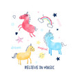 unicorn and magic icons print design with slogan vector image vector image