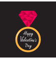 Wedding ring with pink diamond Valentines Day vector image