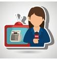 woman journalist news tv vector image