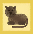 flat shading style icon cartoon panther vector image