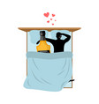 lover drink alcohol bottle of whiskey ang guy in vector image