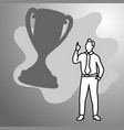 businessman with big silhouette trophy vector image