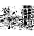 city landscape made by ink on paper vector image