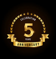 5 years anniversary celebration logotype golden vector image vector image