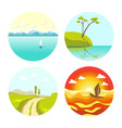 abstract picturesque seascapes and landscape in vector image