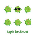 apple smiles cute cartoon emoticons emoji icons vector image