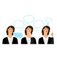 business woman emotions vector image vector image