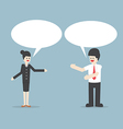 Businessman and woman talking with Speech Bubbles vector image vector image