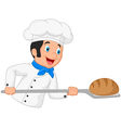 Cartoon baker holding bakery peel tool with bread vector image