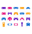 cartoon color gamepad icon set vector image