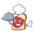 chef with food bread with jam mascot cartoon vector image
