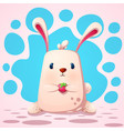 cute funny rabbit with strawberry vector image vector image