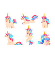 cute unicorns cartoon fairy pony magic baby vector image