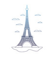 degraded line eiffel tower structure and nice vector image vector image