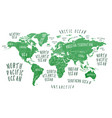 earth map with the name of the countries vector image