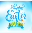 easter eggs on a grass and lettering vector image vector image