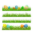 easter green grass with eggs flowers vector image