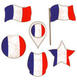 flag of the france performed in defferent shapes vector image