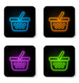 glowing neon shopping basket icon isolated on vector image vector image