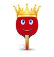 Golden crown on tennis racket vector image vector image