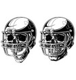 Graphic human skull in american football helmet vector image