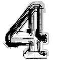 Grunge font number 4 vector image vector image