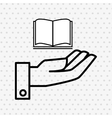 hand and book open isolated icon design vector image