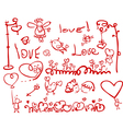 hand drawing love elements vector image vector image