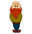 man with long red beard on white background vector image vector image