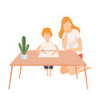 mother helping her son with homework parent and vector image vector image